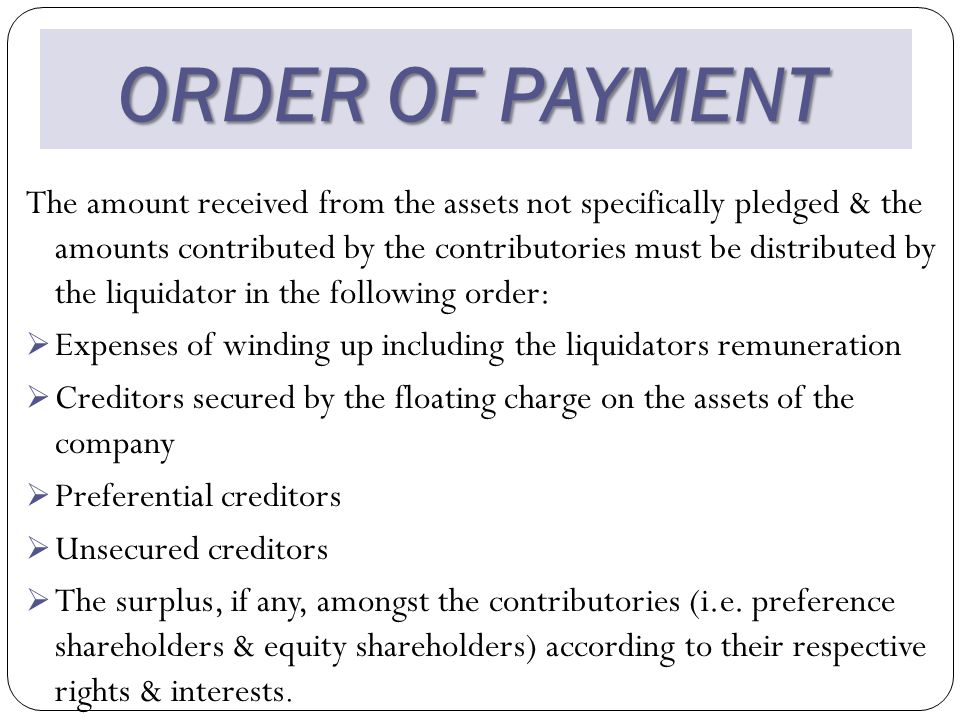 ORDER OF PAYMENT