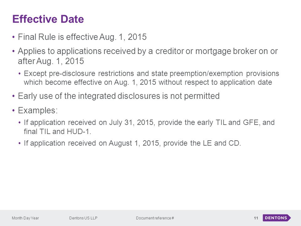 Effective Date Final Rule is effective Aug. 1, 2015