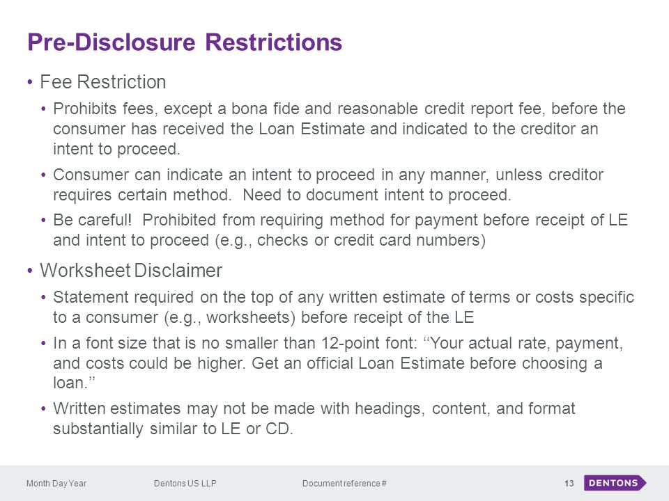 Pre-Disclosure Restrictions