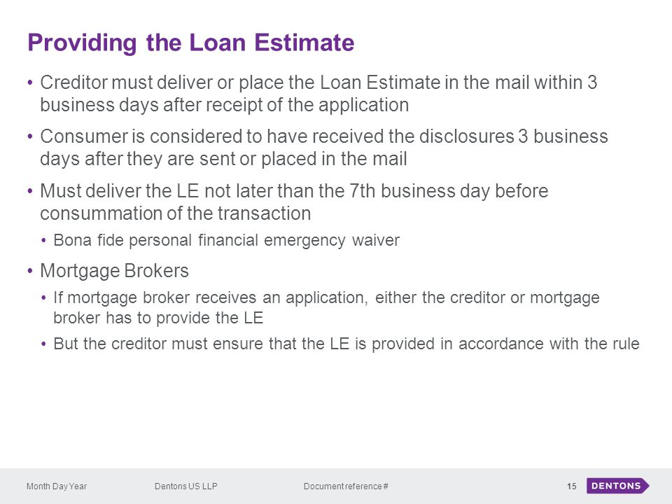 Providing the Loan Estimate