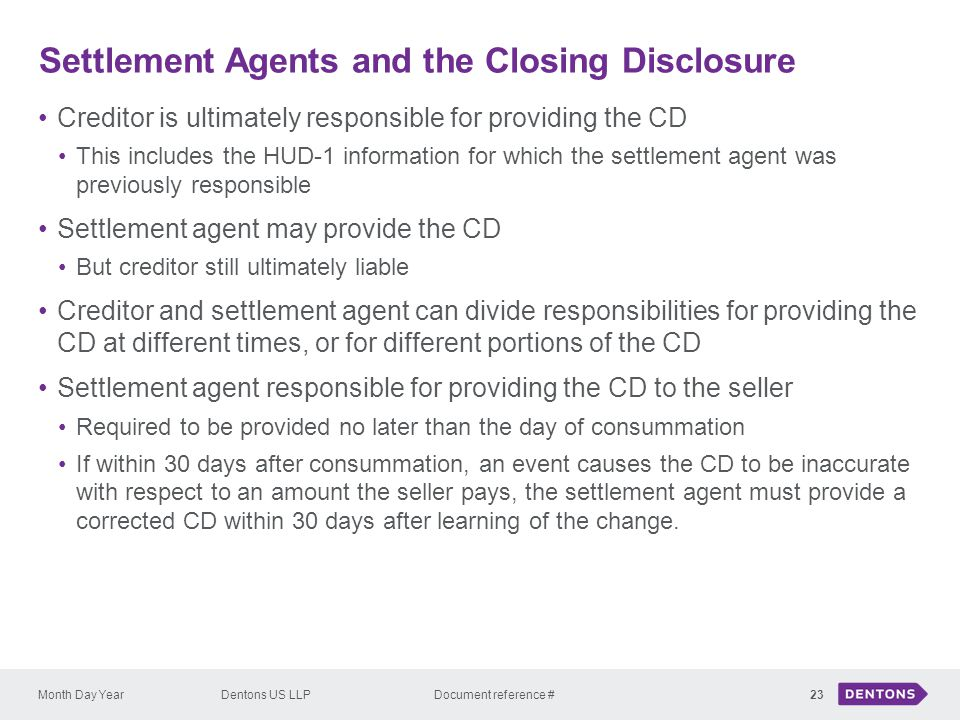 Settlement Agents and the Closing Disclosure