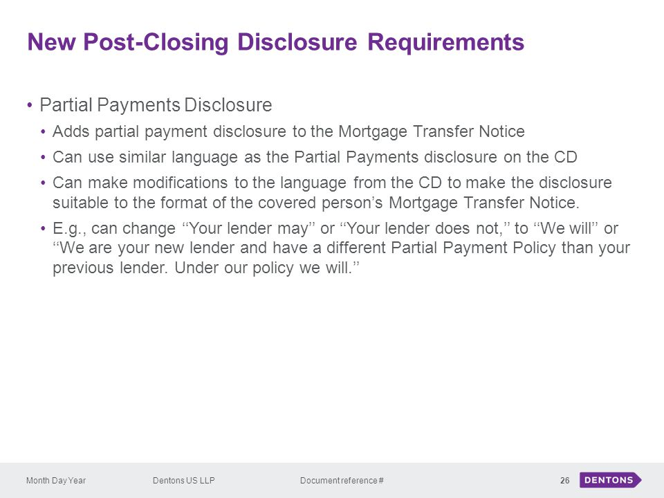 New Post-Closing Disclosure Requirements