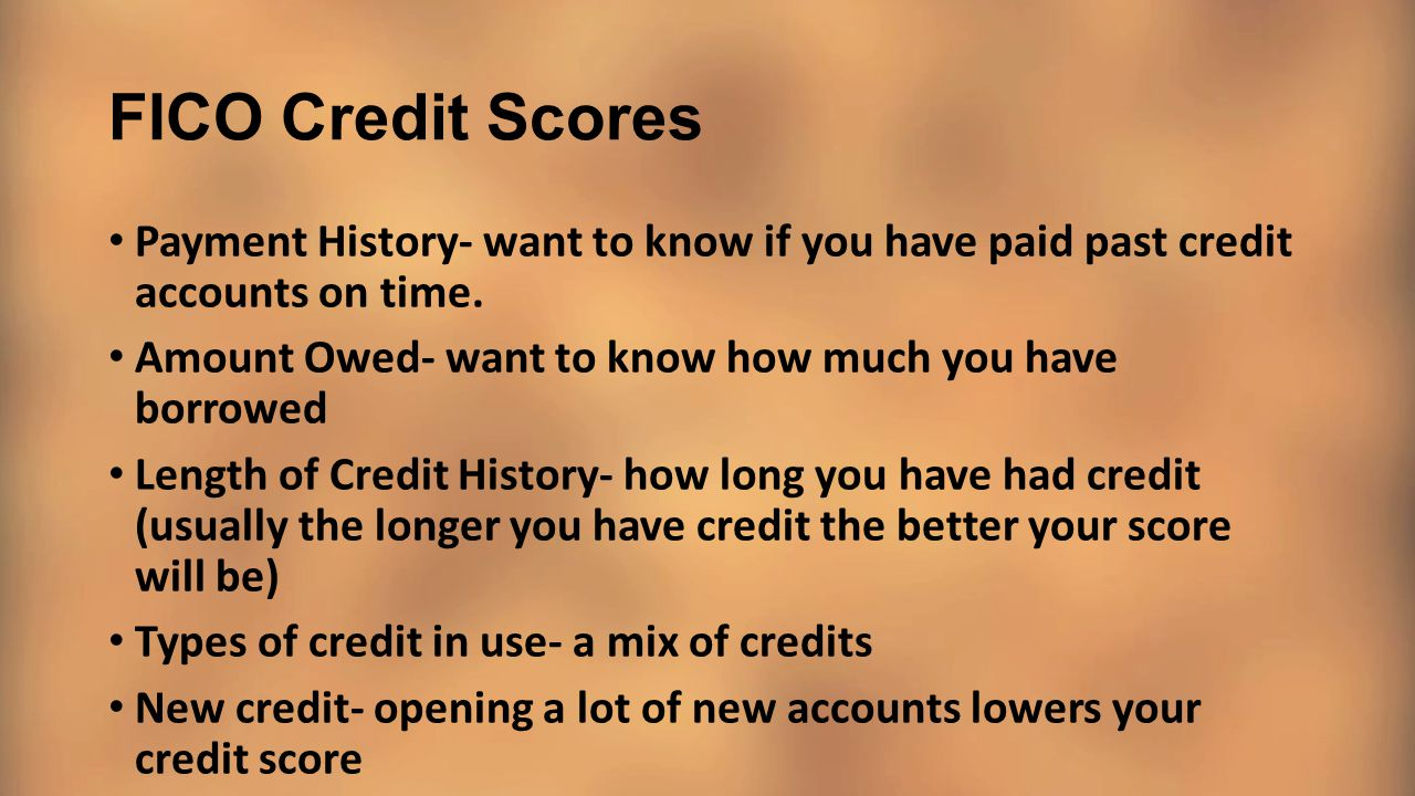 FICO Credit Scores Payment History- want to know if you have paid past credit accounts on time.