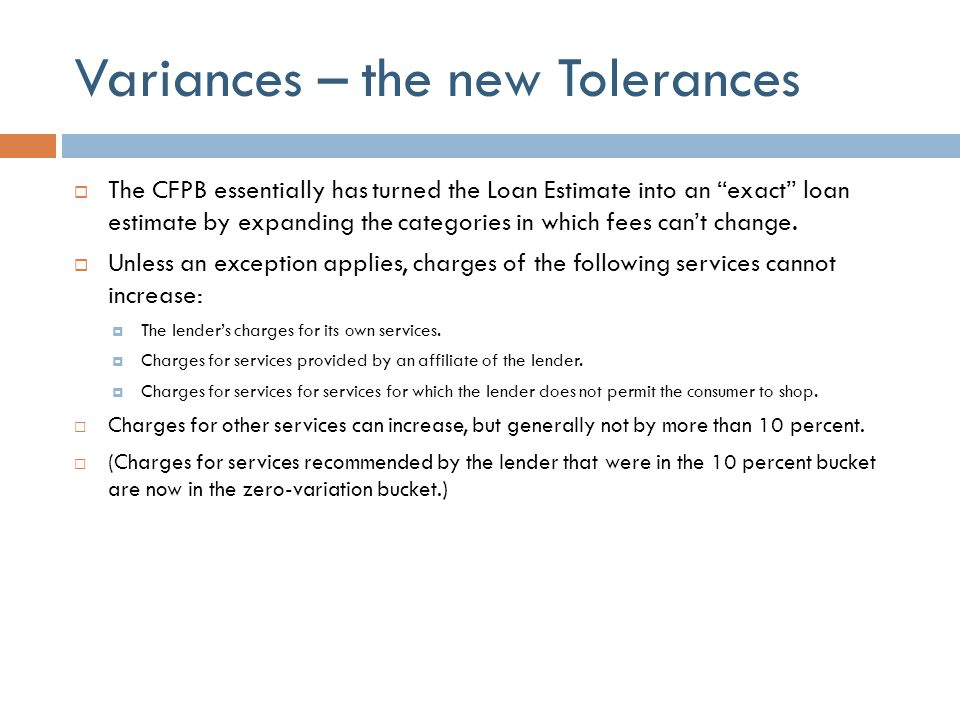 Variances – the new Tolerances