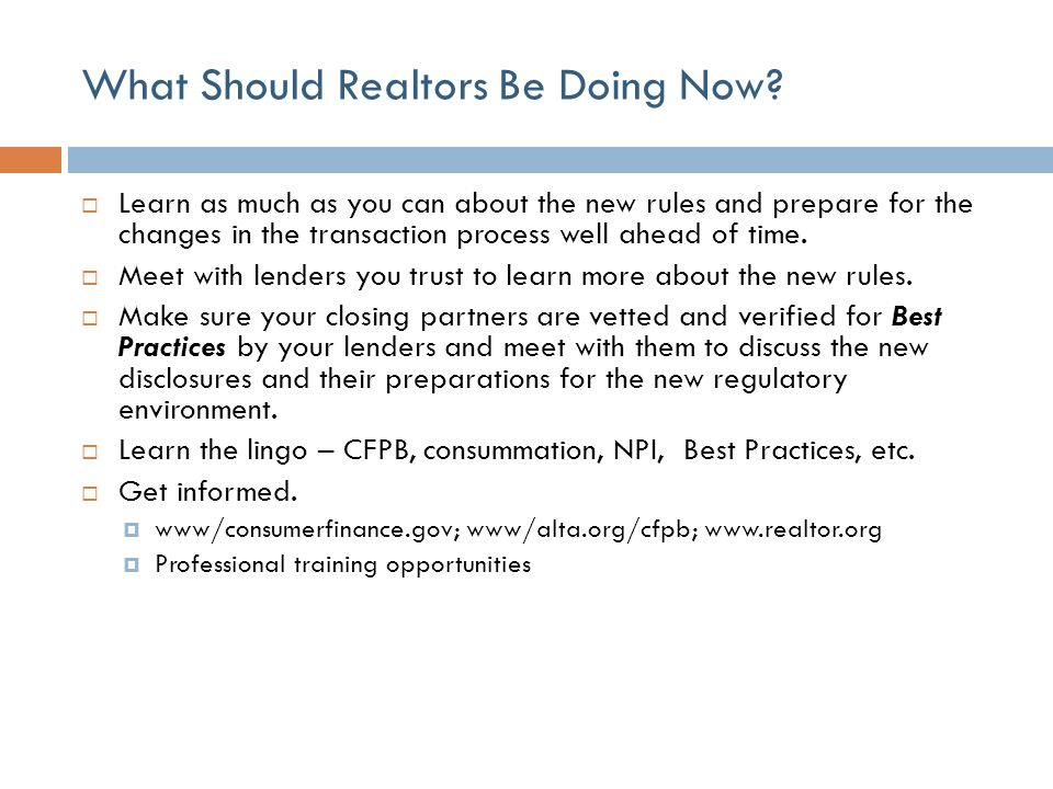 What Should Realtors Be Doing Now