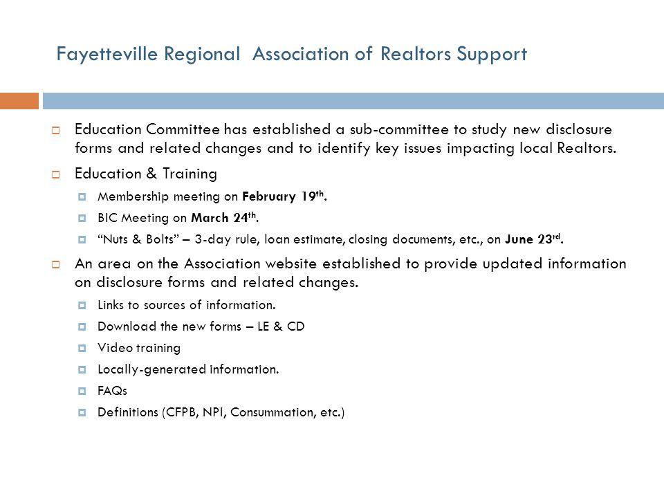 Fayetteville Regional Association of Realtors Support