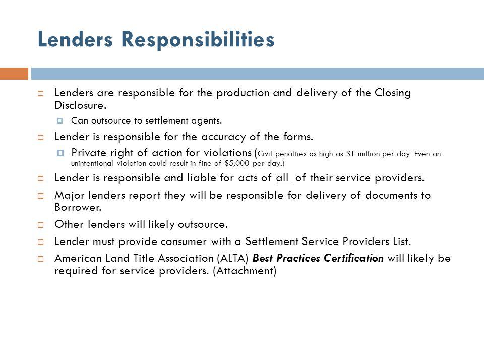 Lenders Responsibilities