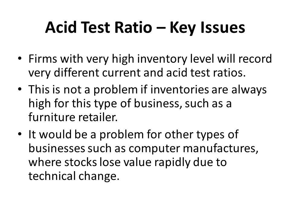 Acid Test Ratio – Key Issues
