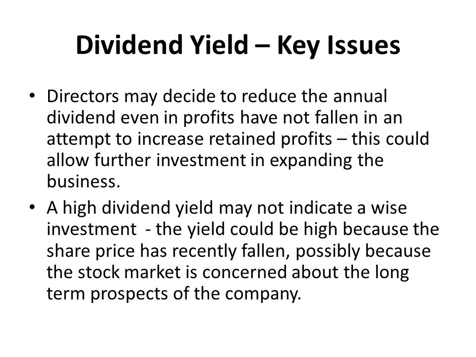 Dividend Yield – Key Issues