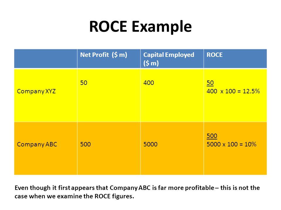 ROCE Example Net Profit ($ m) Capital Employed ($ m) ROCE Company XYZ