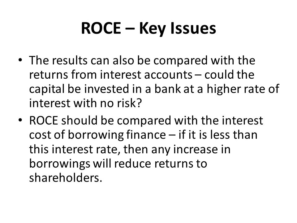 ROCE – Key Issues
