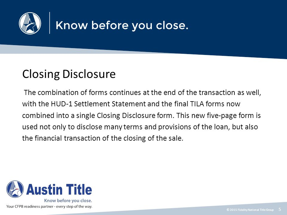 Closing Disclosure Five Things You Need to Know Before August 2015