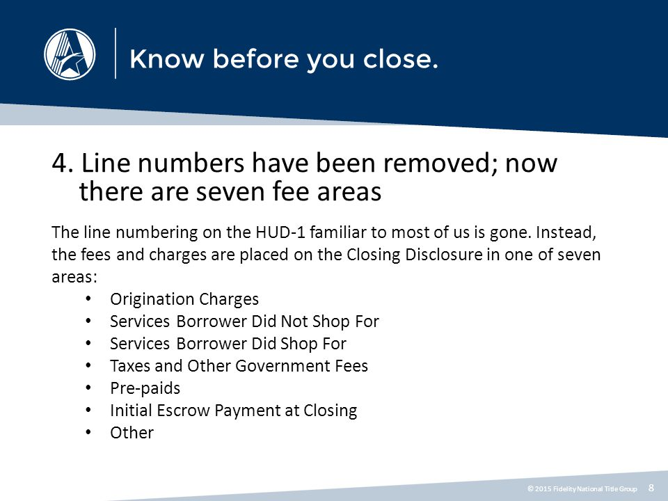 4. Line numbers have been removed; now there are seven fee areas