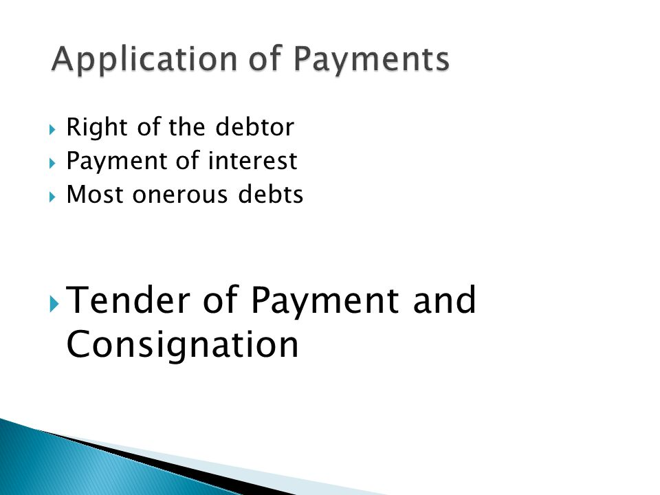 Application of Payments