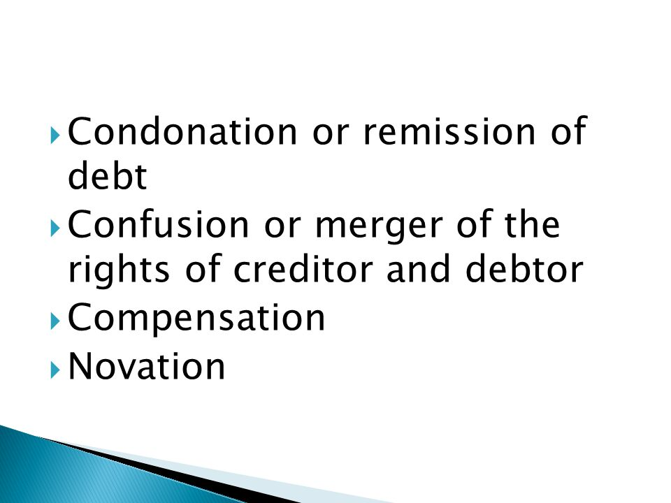 Condonation or remission of debt