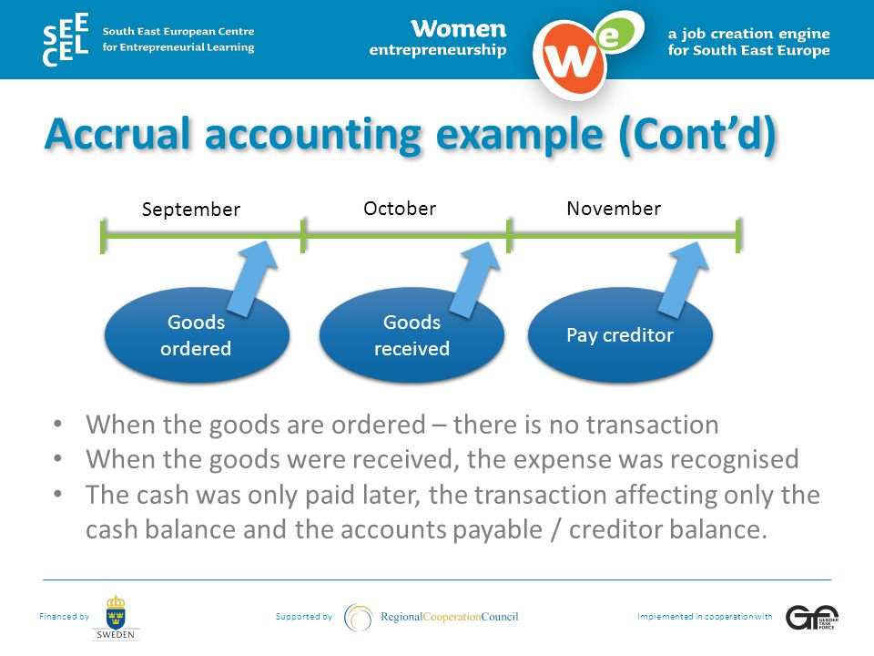 Accrual accounting example (Cont'd)