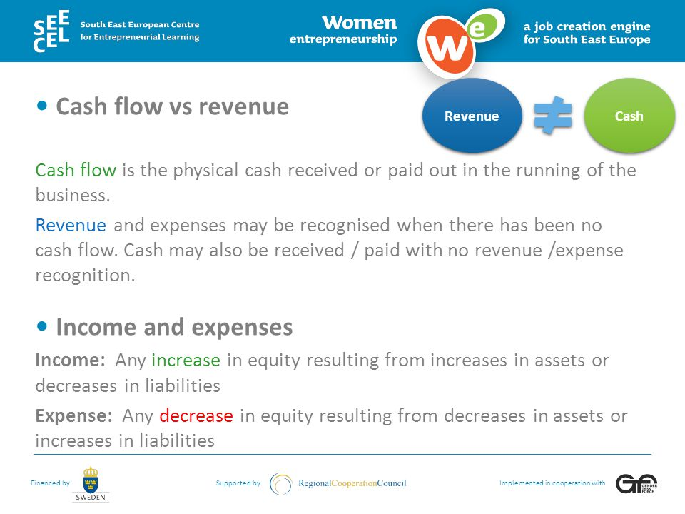 Cash flow vs revenue Income and expenses