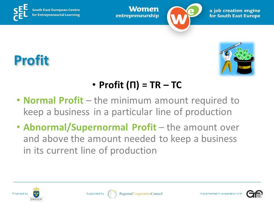 Profit Profit (Π) = TR – TC