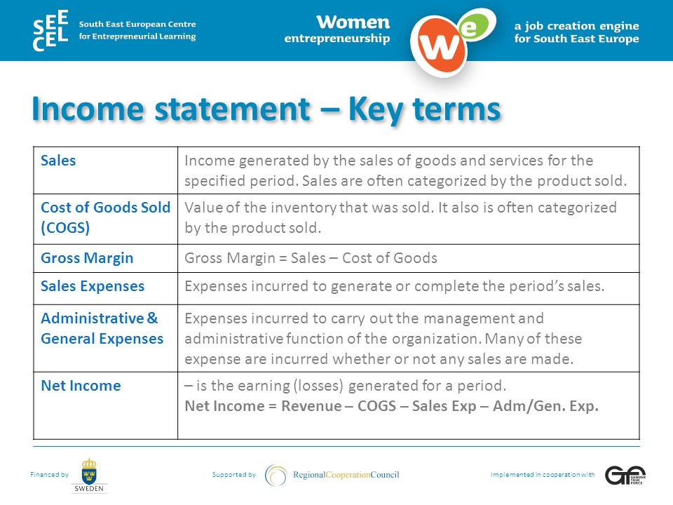 Income statement – Key terms