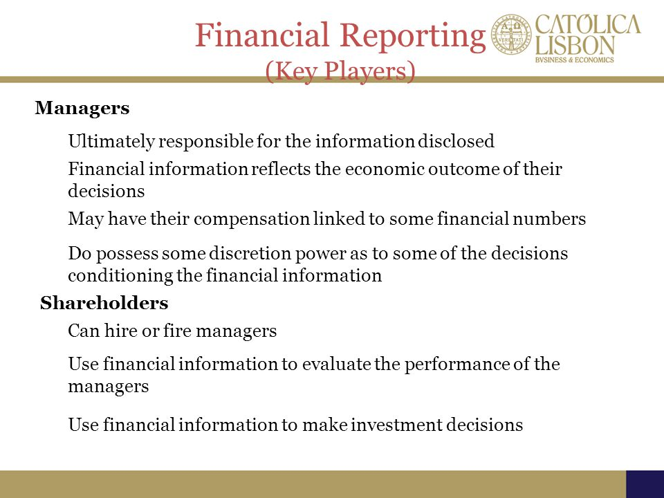 Financial Reporting (Key Players) Managers