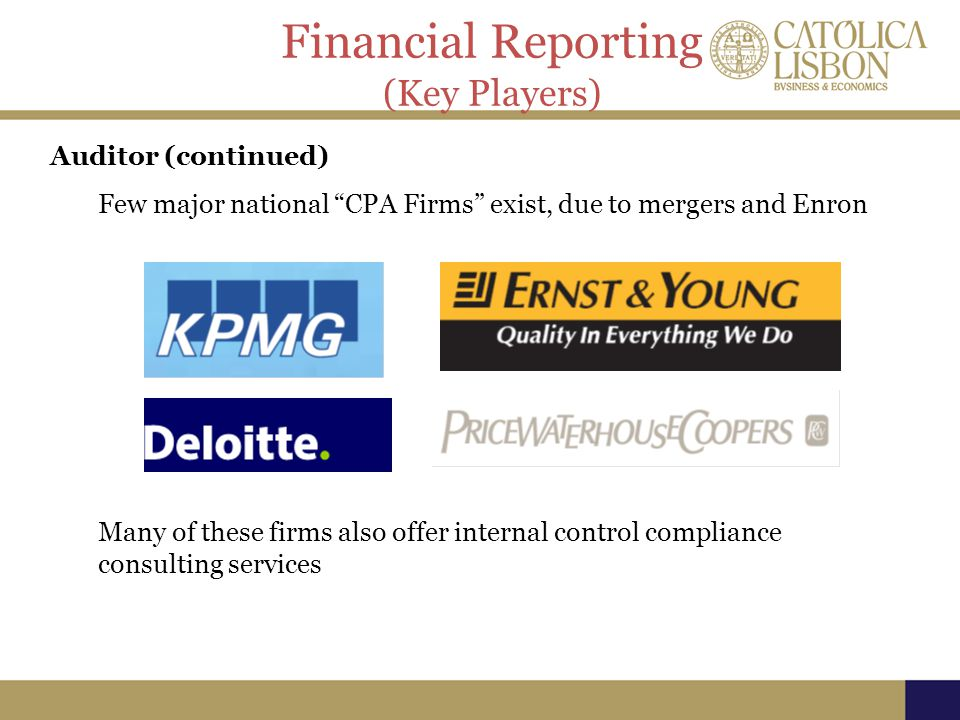Financial Reporting (Key Players) Auditor (continued)