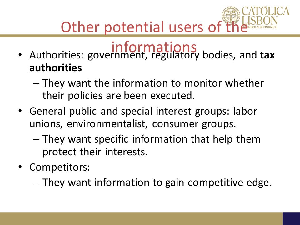 Other potential users of the informations