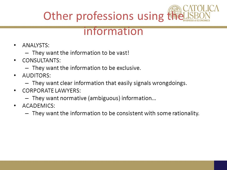 Other professions using the information