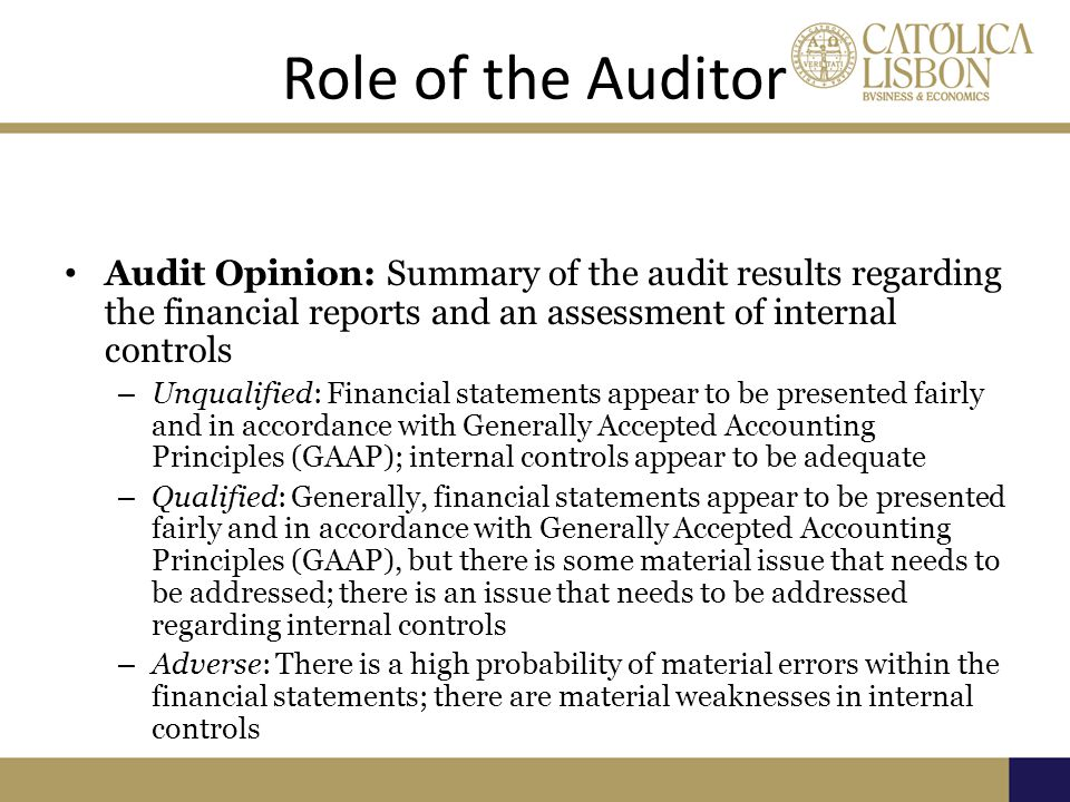 Role of the Auditor Audit Opinion: Summary of the audit results regarding the financial reports and an assessment of internal controls.