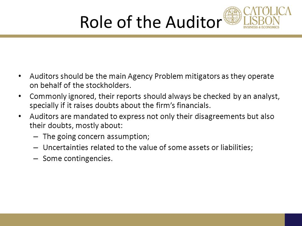 Role of the Auditor Auditors should be the main Agency Problem mitigators as they operate on behalf of the stockholders.