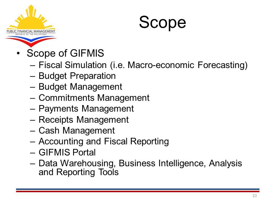 Scope Scope of GIFMIS. Fiscal Simulation (i.e. Macro-economic Forecasting) Budget Preparation. Budget Management.