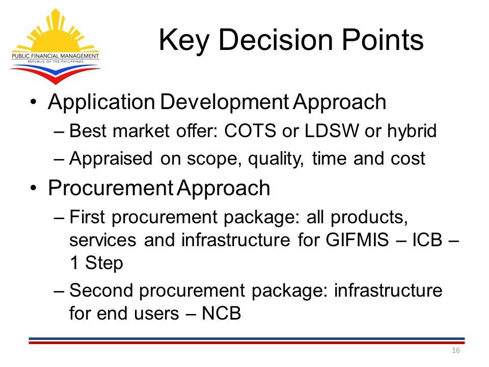 Key Decision Points Application Development Approach