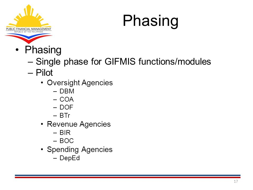 Phasing Phasing Single phase for GIFMIS functions/modules Pilot
