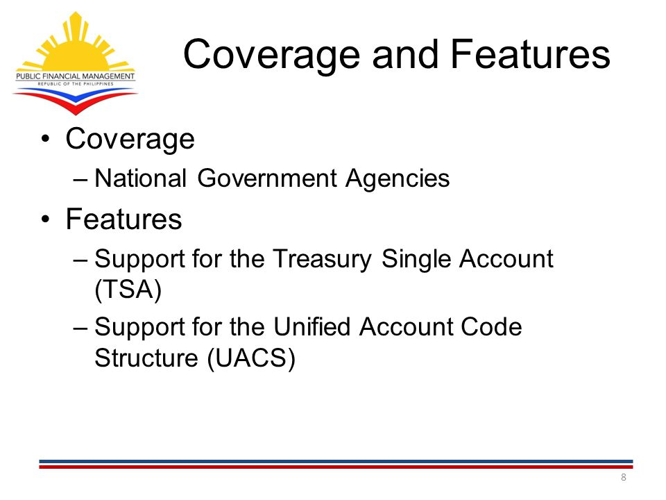 Coverage and Features Coverage Features National Government Agencies