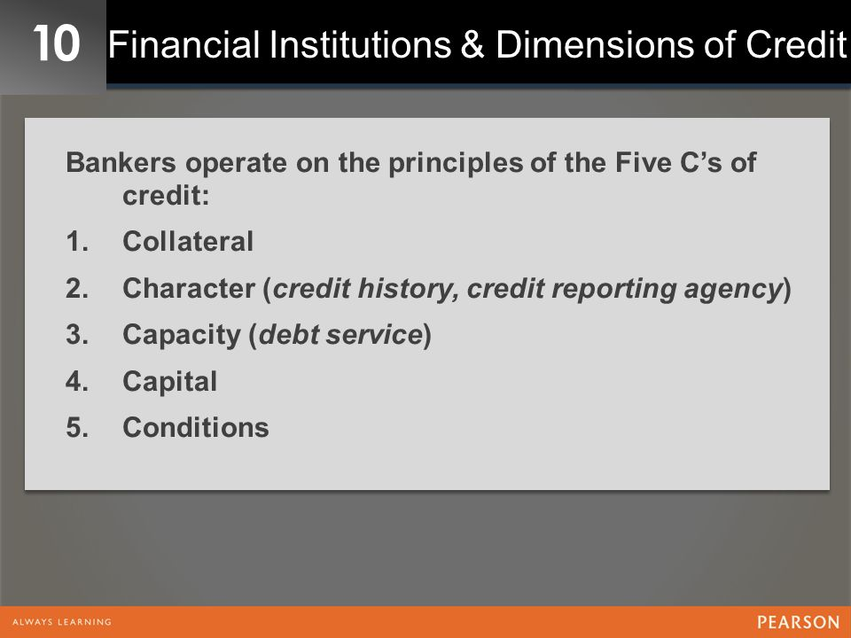 Financial Institutions & Dimensions of Credit