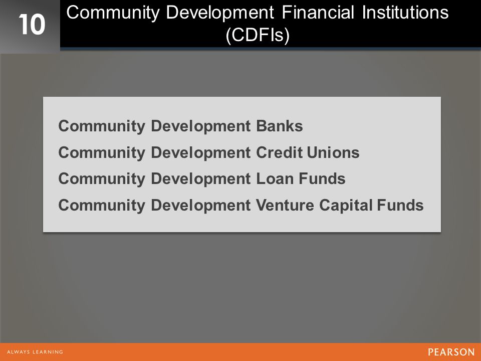 Community Development Financial Institutions (CDFIs)