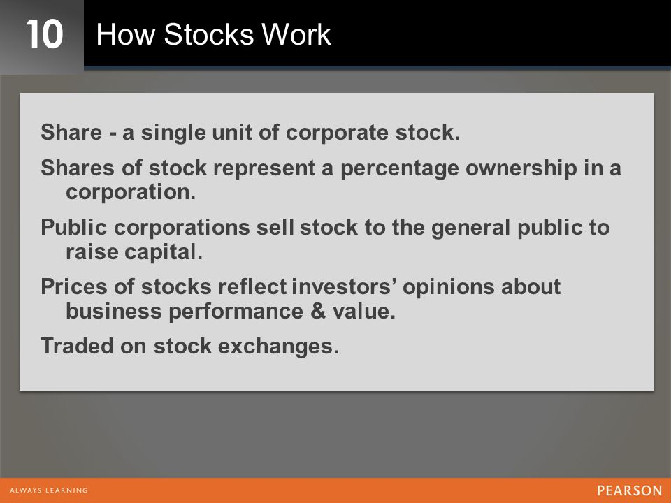 10 How Stocks Work Share - a single unit of corporate stock.