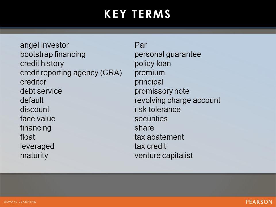 Key Terms angel investor bootstrap financing credit history