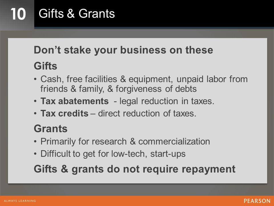 10 Gifts & Grants Don't stake your business on these Gifts Grants