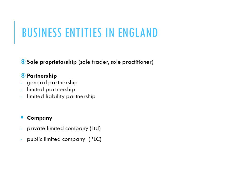 Business entities in England
