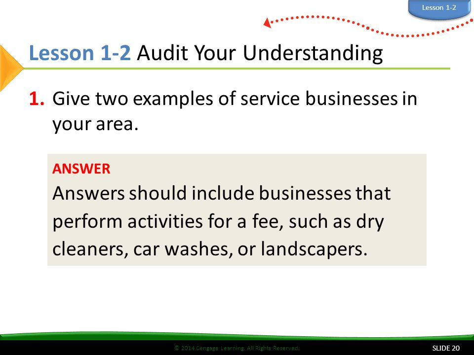 Lesson 1-2 Audit Your Understanding