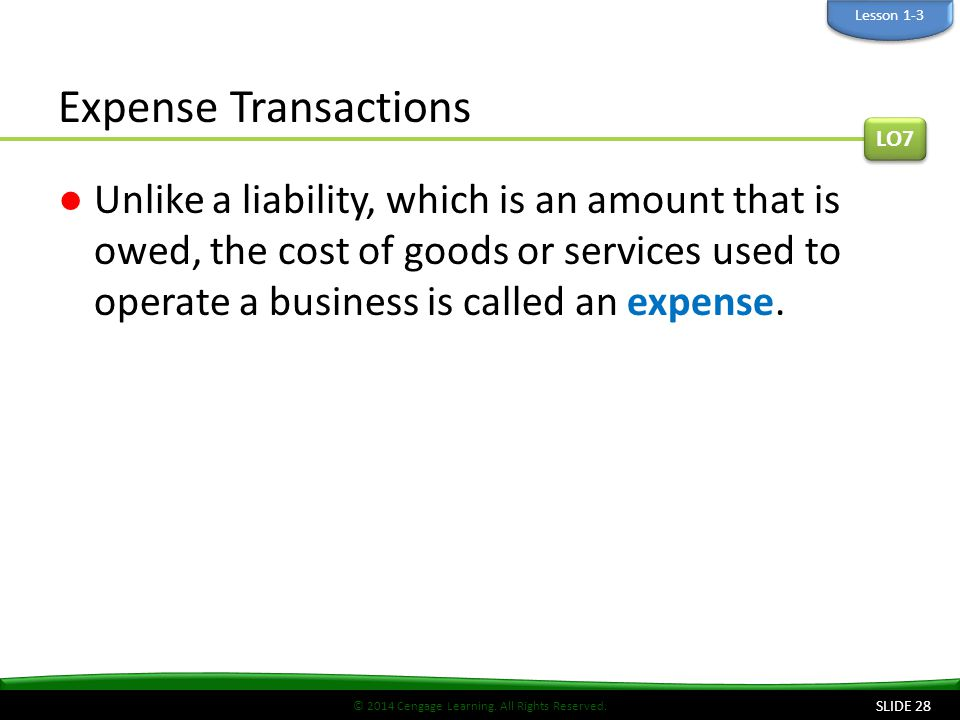 Lesson 1-3 Expense Transactions. LO7.