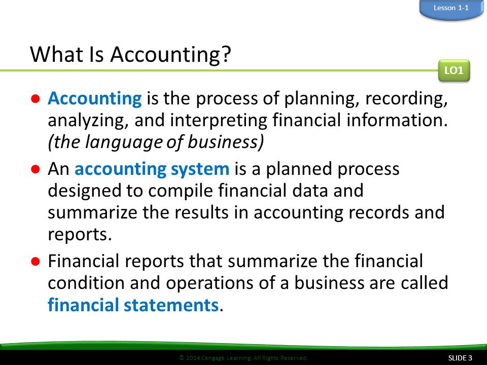 Lesson 1-1 What Is Accounting LO1.