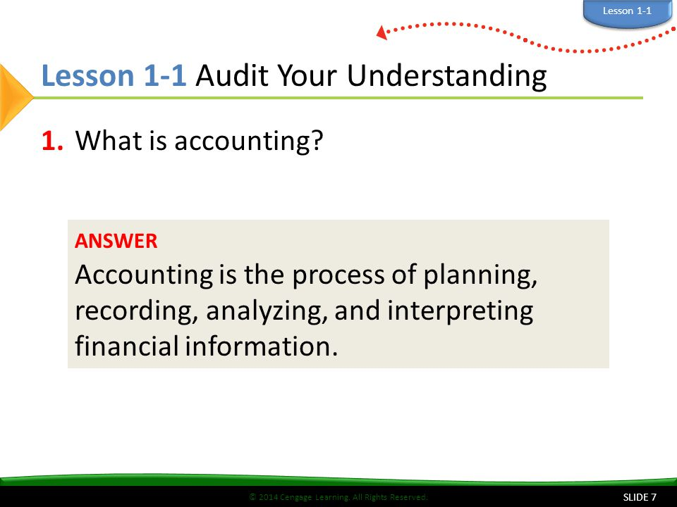 Lesson 1-1 Audit Your Understanding