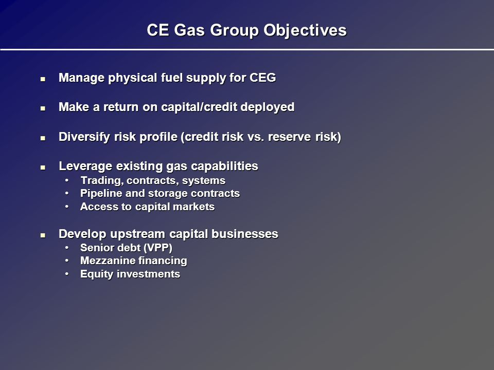 CE Gas Group Objectives