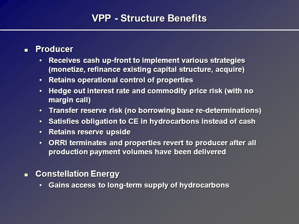 VPP - Structure Benefits