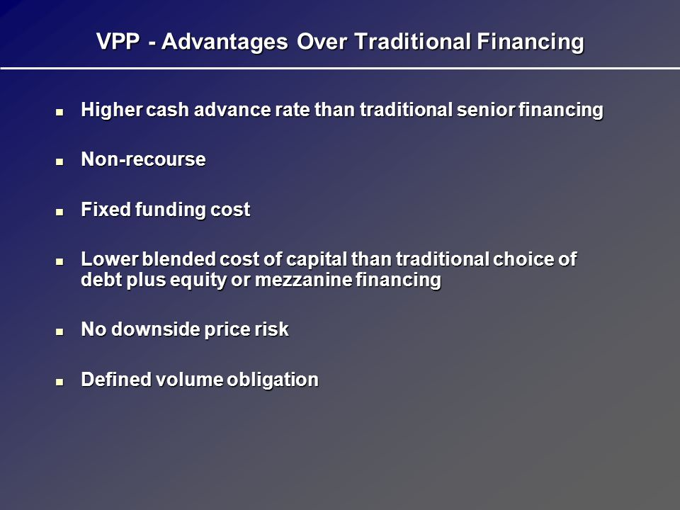 VPP - Advantages Over Traditional Financing