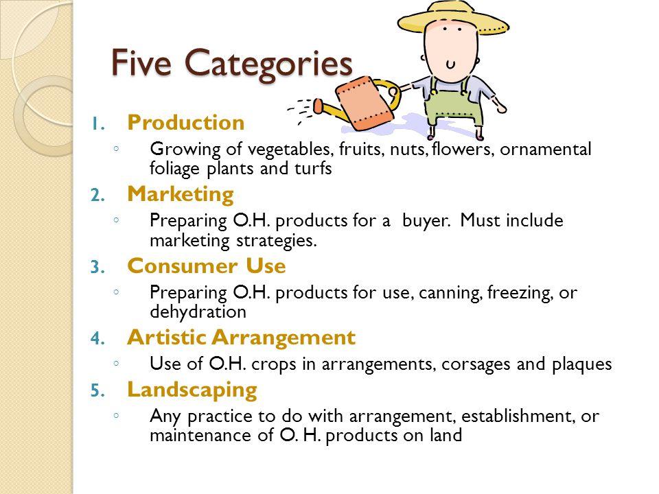 Five Categories Production Marketing Consumer Use Artistic Arrangement