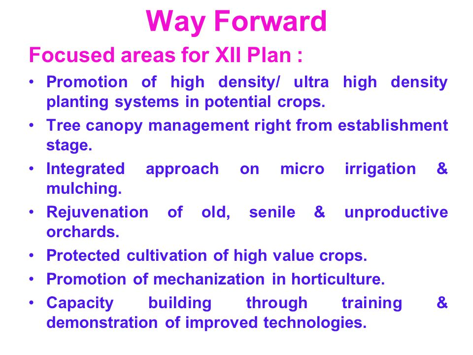 Way Forward Focused areas for XII Plan :