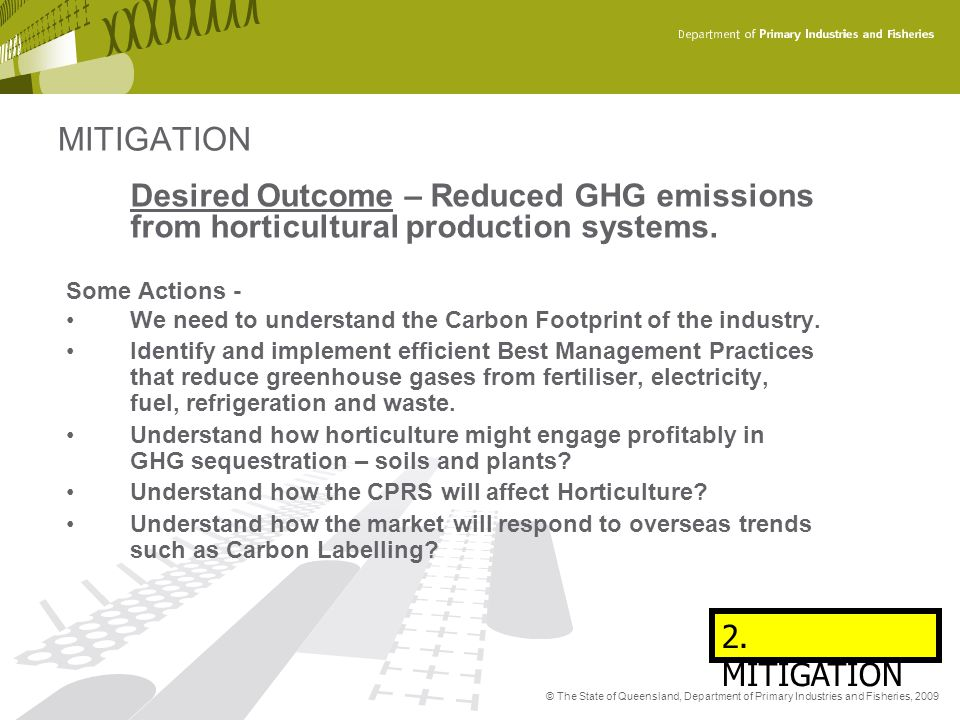 MITIGATION Desired Outcome – Reduced GHG emissions from horticultural production systems. Some Actions -