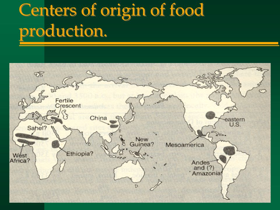 Centers of origin of food production.